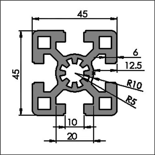 Aluminum t-slot-10 4545D CAD