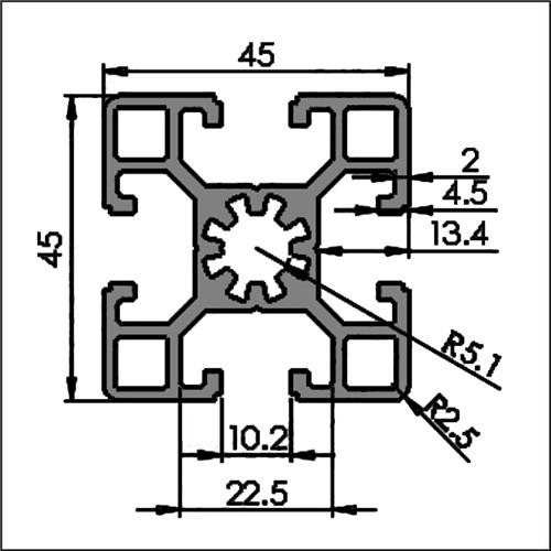 Aluminum t-slot 10-4545L CAD