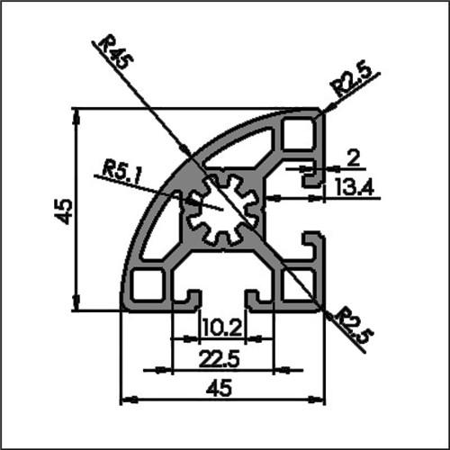 Aluminum t-slot 10-4545R CAD