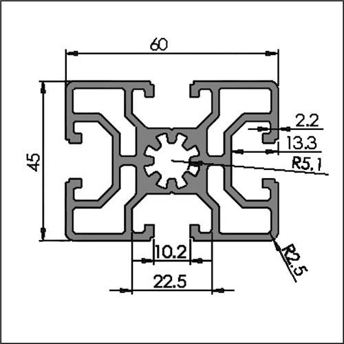 Aluminum t-slot 10-4560 CAD