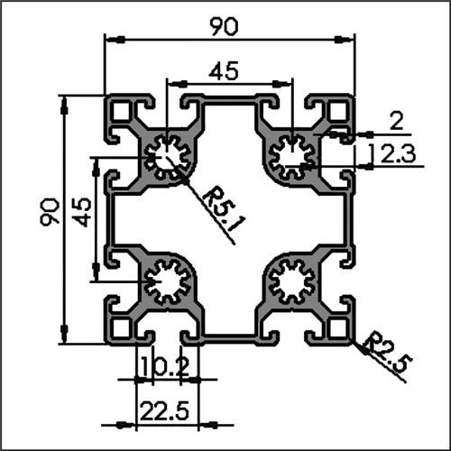 Aluminum-t-slot-10-9090-CAD
